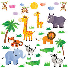 Jungle Animals Children Wall Stickers DIY Art Nursery Decorations