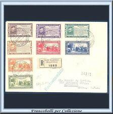 1932 San Marino Serie Garibaldi n. 168/175 su busta raccomandata per Cleveland