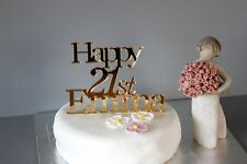 Personalised 21st Gold acrylic Birthday cake topper, any AGE any NAME