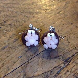 hedgehog drop earrings cute handmade