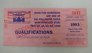 1993 Indianapolis 500 Unused Qualifications Ticket Credential Employee