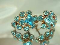 X Sparkling Aqua Blue Rhinestone Vintage 1950's Flower Screw Back Earrings 856D9