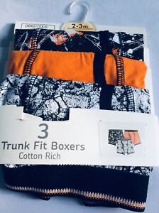 Brand new boys pack of 3 cotton rich trunk fit boxers, 2-3 years