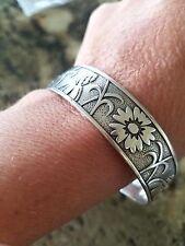 Rare Retired James Avery Wildflower Bangle Bracelet Sterling Silver Large