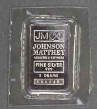 5 gram .999 SILVER BAR - JOHNSON MATTHEY, JM ASSAYERS & REFINERS *SEALED* #Q365