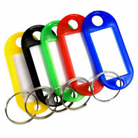 100X Plastic Key Tags Metal Ring Luggage Card Name Label Keychain W/ Split Ring