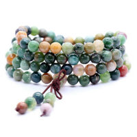 6mm 108 Prayer Tibetan India Agate Buddhist Beads Mala Bless Bracelet Necklace