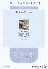 BRD 2012: Gerhard Mercator! Ersttagsblatt der Nr. 2918! Gut erhalten!