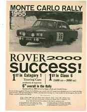 1965 ROVER 2000 @ MONTE CARLO RALLY  ~  NICE ORIGINAL PRINT AD