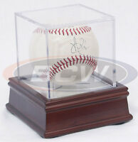 BallQube Baseball Holder with Wood and Mirror Base Cube Ball Display Case BCW