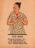 Vintage Funny Graphic Art Poster Print Ad Woman Old Maid He Loves Me Not 6x9