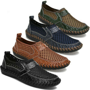 Men's Summer Driving Slip on Loafers Leather Breathable Mesh Casual Shoes #