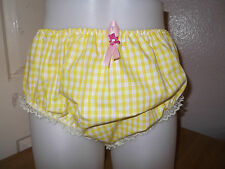 ADULT BABY~SISSY~MAIDS~ PVC LINED GINGHAM & LACE PANTS~NAPPY~DIAPER COVER