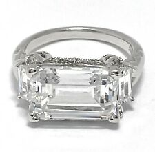 14k Gold Ovr .925 Sterling Silver 11.50ct Signity Diamond 3Stone Engagement Ring
