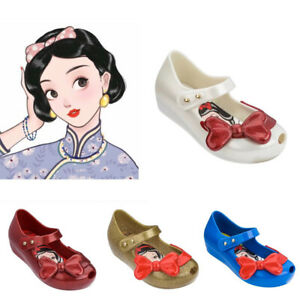 Mini Melissa Sweet Snow Bow White Beautiful Girl Jelly Sandals for Kids US 7-11