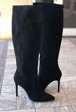 Charles David Black Suede Knee High Stiletto Boots Women's Size 9.5