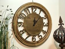 Wall Clock Wooden Large Number Art Round Home Garden Outdoor Decor 60cm