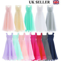 UK Girls Flower Dress Princess Formal Party Wedding Bridesmaid Chiffon Dresses