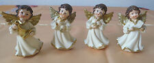 4x Engel Figur weiss mit goldene Flügel Miniatur Dekoration Weihnachten 8cm Neu