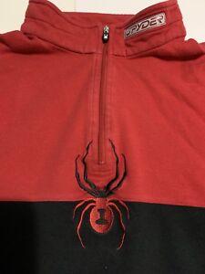 Spyder sweatshirt jacket Pullover Red 1/2 zip Sz Large