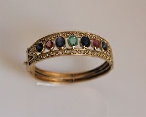 Custom Gold Multi Color Gems 18kt Yellow Open Hinged Cuff Style Bangle Bracelet