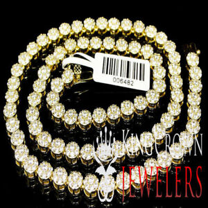 Mens Ladies Thin 5mm Cluster Flower Link Tennis Chain Necklace Yellow Gold Tone