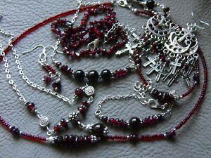 natural GARNET gemstone NECKLACE EARRINGS BRACELET pagan goth #3 unisex
