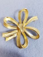 VTG Vintage MONET Signed Gold Toned Textured Ribbon Bow Pin Brooch 2.25""