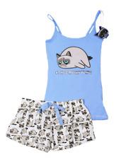 Neu Primark Damen Schlafanzug Nachtwäsche Pyjama Set Grumpy Cat - Gr. XS (32)
