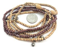 Brown Wood Multi Layered Stretch Crystal Beaded Stack Bracelets Set of 6