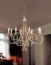 Lampadario classico 8 luci in metallo colore avorio striato coll. Dese 2610-8