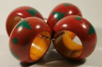VNTG? Wooden Christmas Napkin rings Red And Green