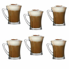 Set Of 6 Glasses Coffee Tea Cappuccino Glass Cups Hot Drink Mugs Gift Brand New