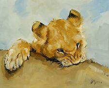 Portrait of a Lion Cub ORIGINAL OIL PAINTING Realism-Wildlife Art by J Payne