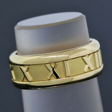 Tiffany & Co. Gold Ring 18K Yellow Atlas Roman Numeral 7mm Band Size 5