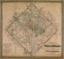 "22"" x 24"" 1862 Map Of Original District Of Columbia Washington"