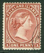 SG 21 Falklands 1891-1902. 1d claret. Very fine used, part CDS, leaves Queens...