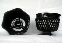 Tiara Indiana Glass 2 Opaque Black Cameo Diamond Point Taper Candle Holders