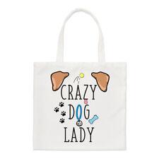 Crazy Dog Lady marrone orecchie piccole Tote Bag-CUCCIOLO FUNNY shopper spalla