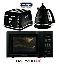 Delonghi Brillante Black Kettle and Toaster Set & Daewoo Duo-Plate Microwave New