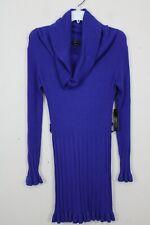 BCBG Maxazria Womens Dress Blue Knit Sweater Off Shoulder Long Wool Medium