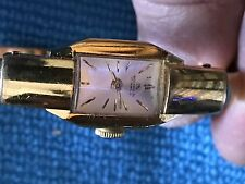 Vintage Ladies Bucherer Enamel Fleur de Lis Manual Wind Bangle Bracelet Watch