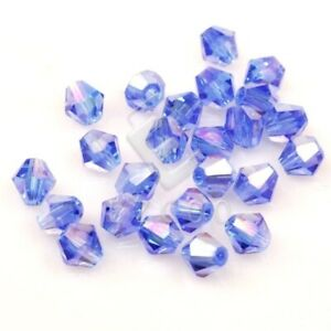 120pcs 4mm Blue Bicone Crystal Spacer Beads Faceted Loose Jewelry Findings EBCR