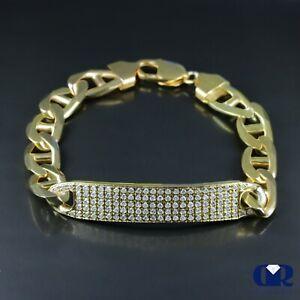 "Men's 1.95 Ct Diamond Over 18K Yellow Gold ID Bracelet Mariner Link 11 mm 8.75"""