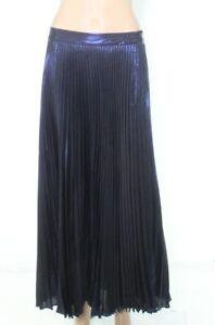 Lauren by Ralph Lauren Womens A-Line Skirt Blue Size 6 Metallic Pleated $195 466