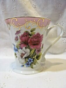 Beautiful Pink White & Gold Fine Porcelain Floral Rose Tea Coffee Cup Sorelle