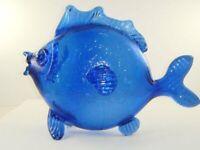 """Vintage Cobalt Blue Glass Fish Figurine Big Huge 12"""" Long"""
