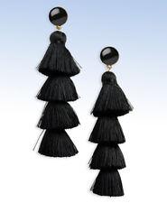 BAUBLEBAR Gold-Tone GABRIELA Black Tassel Drop Earrings w Black Onyx Studs