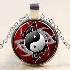 Silber Halskette Yin Yang Muster flacher runder Glas Anhänger Jing Neu II