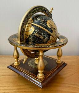 Credan - Spanish Zodiac World Globe - Toledo - 24 Carat Ornate Gold Decoration